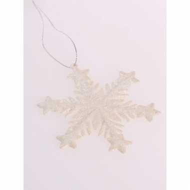 Kerstboomhanger sneeuwvlok gebroken wit glitters