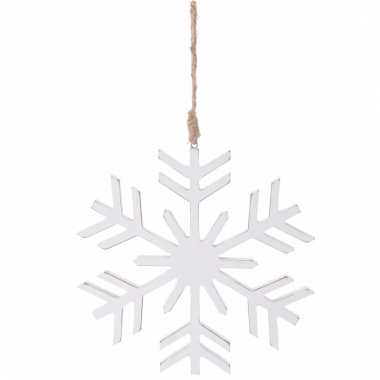 Kerstboomhanger sneeuwvlok wit hout