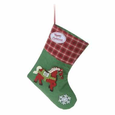 Kerstcadeau kerstsok met paard applicatie type 2 20 cm