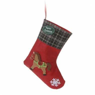 Kerstcadeau kerstsok met paard applicatie type 3 20 cm