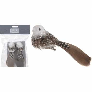 Kerstdecoratie bruin/witte vogels op clip 2 stuks