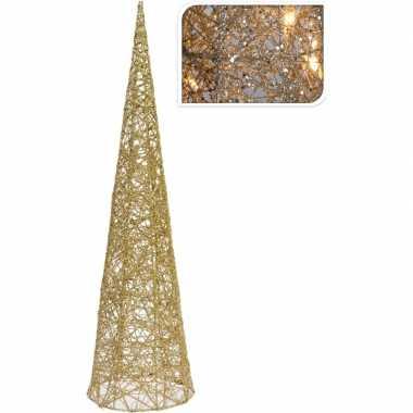 Kerstdecoratie kegelverlichting goud 60 cm