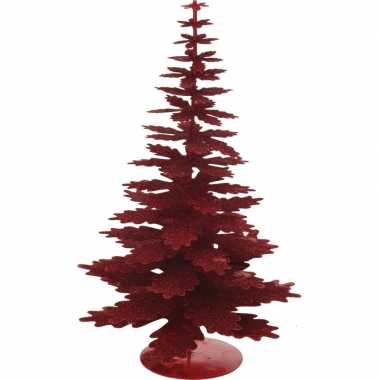 Kerstdecoratie kerstboom rood/eikenblad 35 cm