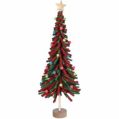 Kerstdecoratie kerstboom rood/groen van vilt 45 cm