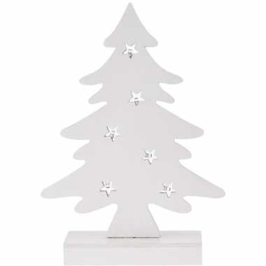 Kerstdecoratie kerstboom wit hout 28 cm met led lampjes