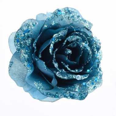 Kerstdecoratie roos petrol blauw op clip