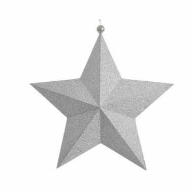 Kerstdecoratie sterren hanger glitter zilver 22 cm