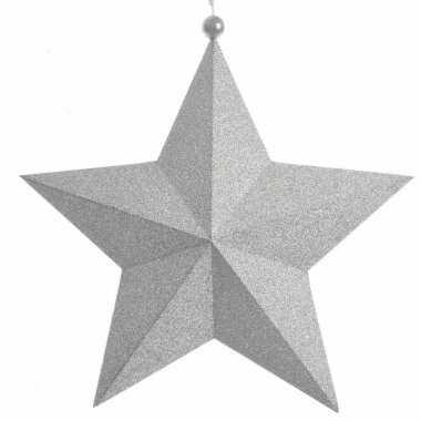 Kerstdecoratie sterren hanger glitter zilver 34 cm