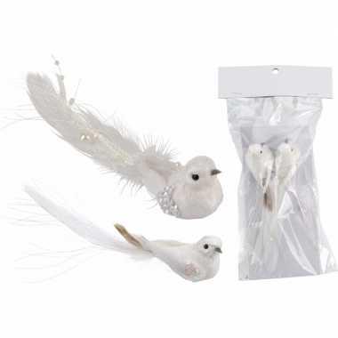 Kerstdecoratie wit vogeltjes op clip 2 stuks