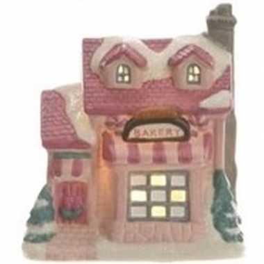 Kerstdorp kersthuisje 10 cm bakker met verlichting
