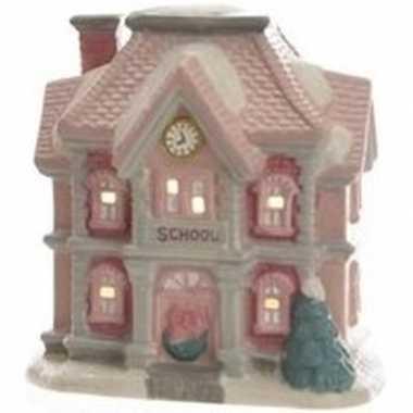 Kerstdorp kersthuisje 11 cm schoolgebouw met verlichting
