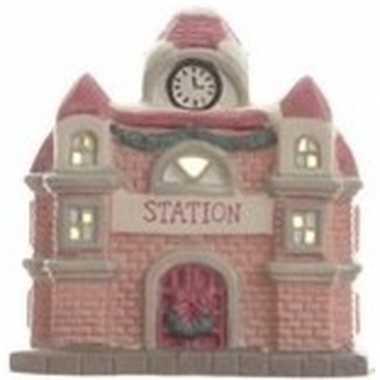 Kerstdorp kersthuisje 11 cm treinstation/stationsgebouw met verlichti