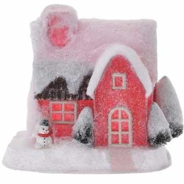 Kerstdorp kersthuisje 18 cm rood type 3 met led lampjes
