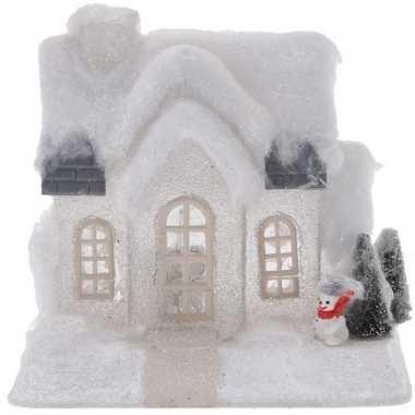 Kerstdorp kersthuisje 20 cm wit type 1 met led lampjes