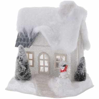 Kerstdorp kersthuisje 20 cm wit type 2 met led lampjes