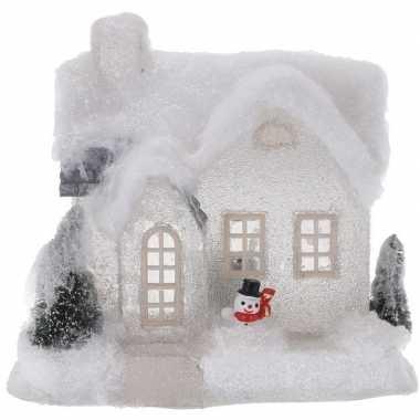 Kerstdorp kersthuisje 20 cm wit type 3 met led lampjes