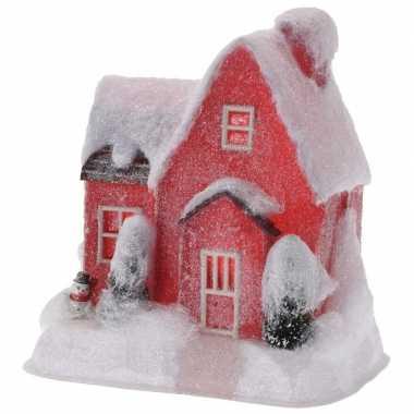 Kerstdorp kersthuisje 25 cm rood type 1 met led lampjes