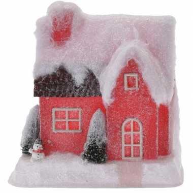 Kerstdorp kersthuisje 25 cm rood type 2 met led lampjes
