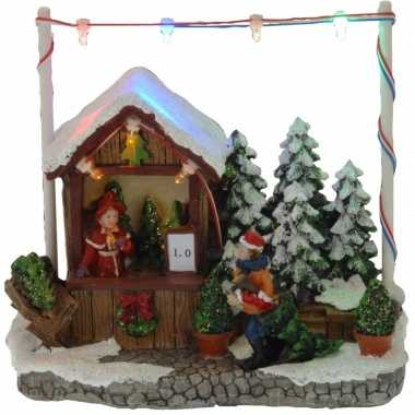 Kerstdorp kersthuisje kerstboom winkel/kraam 16 cm met led lampjes