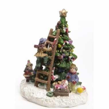 Kerstdorp kinderen op een kerstboom 10 cm type 2