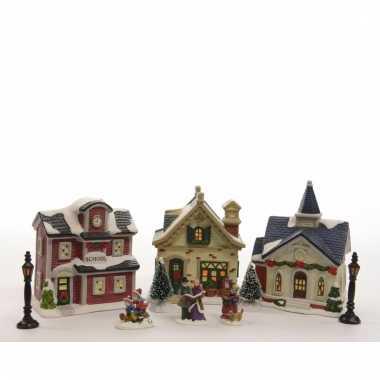 Kerstdorp maken 10-delige set met led verlichting 36 cm