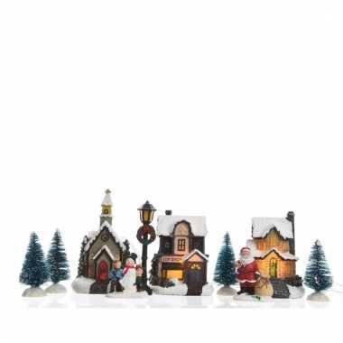 Kerstdorp maken decoratie huisjes met led verlichting 9,5 cm