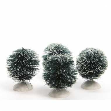 Kerstdorpje besneeuwde kerststruik set van 4 stuks groen 6 cm