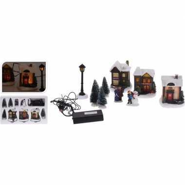 Kerstdorpje maken huisjes met led lampjes 10 delig