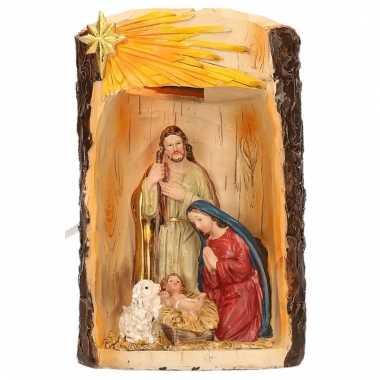 Kerstgroep polystone beeldje met lampje 19 cm