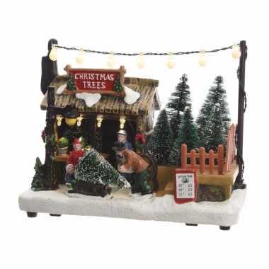 Kersthuisjes kerstboom boer 14 cm