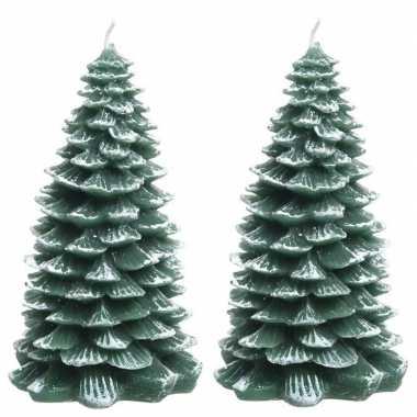 Kerstkaars kerstboom 2 stuks 23 cm