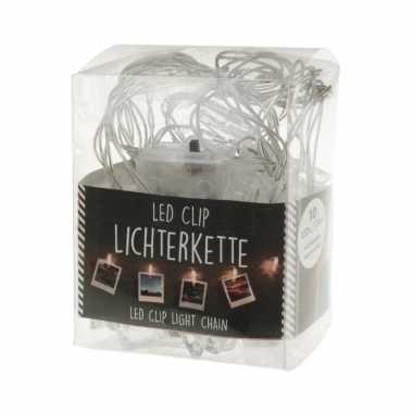 Kerstkaarten ophangen lichtslingers met led knijpertjes 150 cm