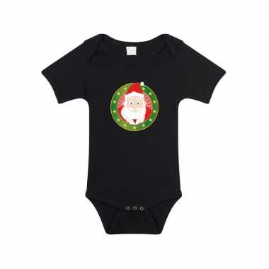 Kerstkleding baby rompertje met kerstman zwart jongens en meisjes