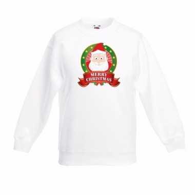 Kerstman kerstmis sweater wit voor jongens en meisjes