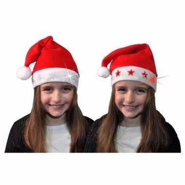 Kerstmannen muts met lampjes voor kinderen