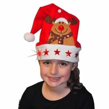 Kerstmannen muts met rendier voor kinderen