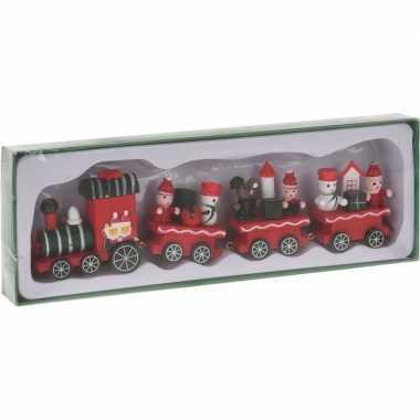 Kerstmis decoratie trein groen/rood van hout 25 cm type i