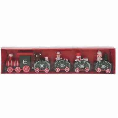 Kerstmis decoratie trein rood/groen van hout 24 cm