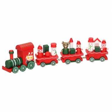 Kerstmis decoratie trein rood/groen van hout 25 cm type ii