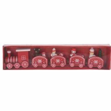 Kerstmis decoratie trein rood/wit van hout 24 cm