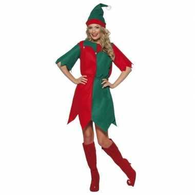Kerstmis elfen jurk voor dames rood/groen