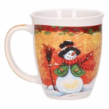 Kerstmok sneeuwpop met zwarte hoed