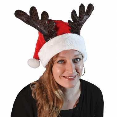 Kerstmuts met rendiergewei voor volwassenen