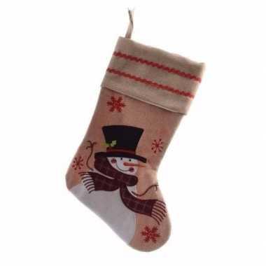 Kerstsok cadeausok met sneeuwpop applicatie