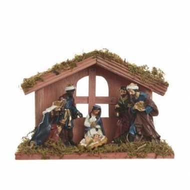 Kerststal met 6 figuren 20 x 14 cm