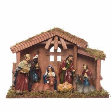 Kerststal met 8 figuren 30 cm