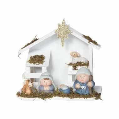 Kerststal van hout 20 x 18 cm