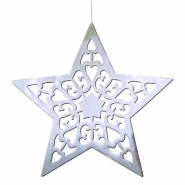 Kerstster hangdecoratie zilver 50 cm