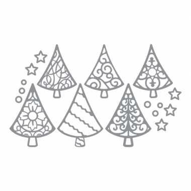 Kerststickers zilveren kerstbomen