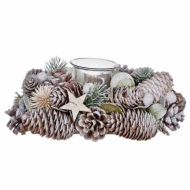 Kerststukje met glazen waxinelicht houder 21cm